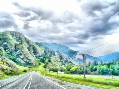 mountain road: Mountain Road, Altai; Clean streams; creeks and rivers; tall; slender trees; plantation of medicinal herbs; fresh air and undisturbed; pristine nature. Illustration; watercolor Stock Photo