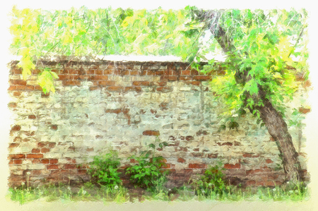 paint peeling: brick wall with peeling paint in old abandoned garden, drawn illustration, watercolor