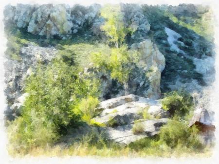 hillside: Watercolor rocky hillside