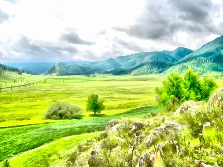 sky and grass: Where no man has gone before, reserved land, Altai Mountains.Clean streams, creeks and rivers, tall, slender trees, plantation of medicinal herbs, fresh air and undisturbed, pristine nature. Illustration, watercolor Stock Photo