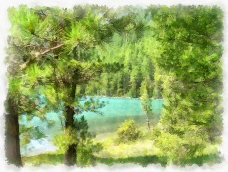 altai: Where no man has gone before, reserved land, Altai Mountains.Clean streams, creeks and rivers, tall, slender trees, plantation of medicinal herbs, fresh air and undisturbed, pristine nature. Illustration, watercolor.Riverside landscape in the Altai mounta Stock Photo