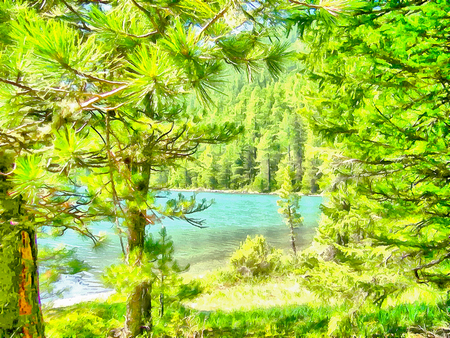 altai: Where no man has gone before, reserved land, Altai Mountains.Clean streams, creeks and rivers, tall, slender trees, plantation of medicinal herbs, fresh air and undisturbed, pristine nature. Illustration, watercolor Stock Photo