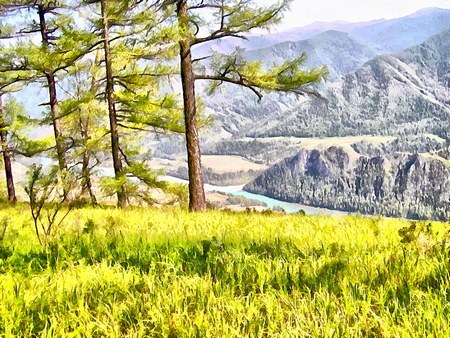 undisturbed: Where no man has gone before, reserved land, Altai Mountains.Clean streams, creeks and rivers, tall, slender trees, plantation of medicinal herbs, fresh air and undisturbed, pristine nature. Illustration, watercolor Stock Photo