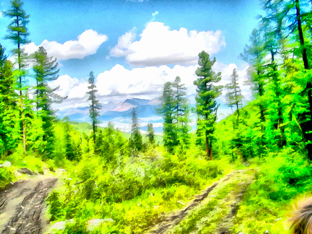 undisturbed: Where no man has gone before; reserved land; Altai Mountains.; Clean streams; creeks and rivers; tall; slender trees; plantation of medicinal herbs; fresh air and undisturbed; pristine nature. Illustration; watercolor