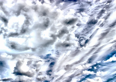 Painted illustration of the cloudy blue sky