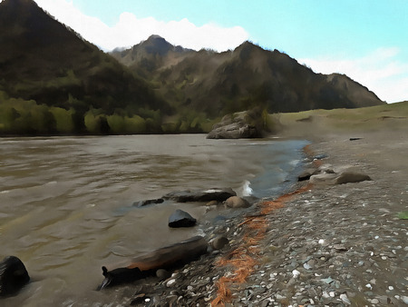 daring: bold, daring tourists fuse for the rapid and dangerous mountainous river, drawing acrylic,