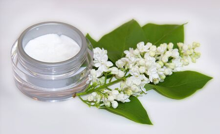 feminine beauty: jar natural cream sprig bloom white lilac cosmetic set isolated on grey background. Feminine, beauty and cosmetics concept Stock Photo
