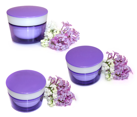 feminine beauty: jar natural cream sprig fresh bloom white and purple lilac perspective, fresh delicate flowers and petals for cosmetic set isolated on scrapbook background. Feminine, beauty, cosmetic concept