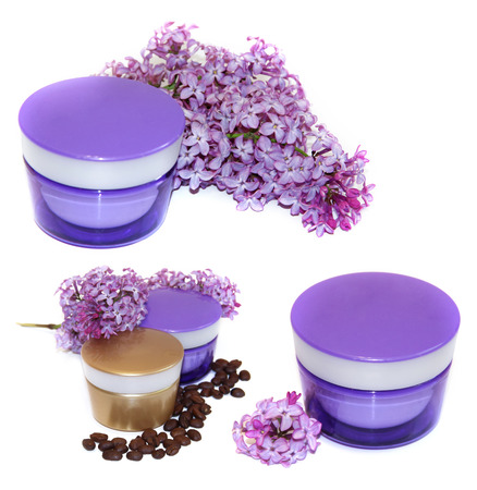 feminine beauty: jar natural cream sprig fresh bloom white and purple lilac perspective, fresh delicate flowers and petals, roasted coffee beans for cosmetic  concept set isolated on scrapbook background. Feminine, beauty,