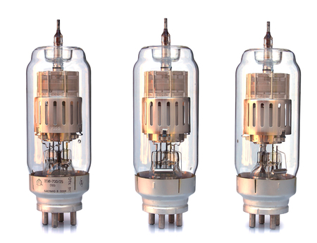 rarity: old incandescent lamp, vintage lamp generator isolated on white with clipping path rarity Stock Photo
