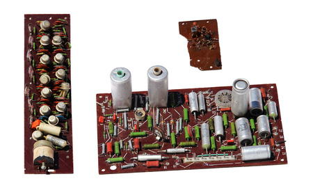 conductive: old rarity radio, tv board with electronic components, printed circuit board, resistor, capacitor, resistance, FET