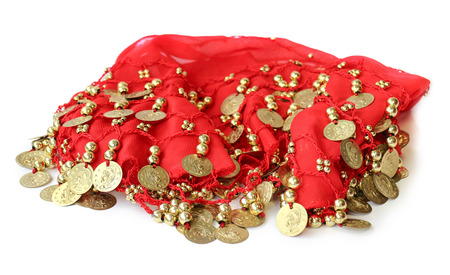 sewn: fabric with sewn coins for belly dance with passion skirt