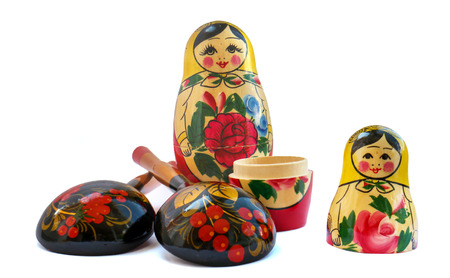 set of russian national artistic wooden whistle cat, painted spoon, souvenir matryoshka doll