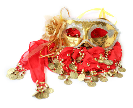 sewn: fabric with sewn coins for belly dance with passion skirt and Golden Mask for carnival