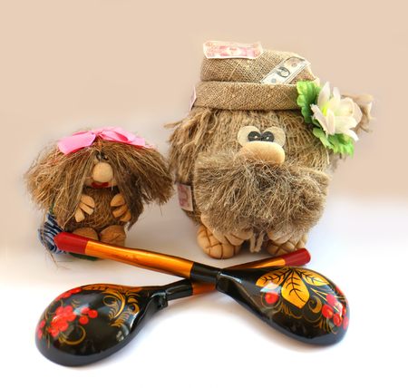 troll dolls: souvenir old Brownie toy and granddaughter painted spoons Hand-made.