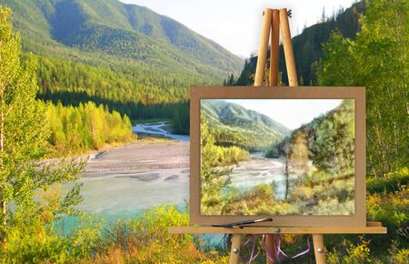 creek: Easel with a painting watercolor illustration of Altai Mountains on a canvas on a landscape. Distant horizon attracts attention and the river road calls for adventure. Photo manipulation concept.