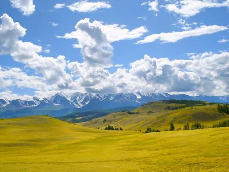 rocky road: autumn landscape oil paint. Altai Mountains fresh air undisturbed pristine nature Illustration, peaceful Highlands, Orange oblique field