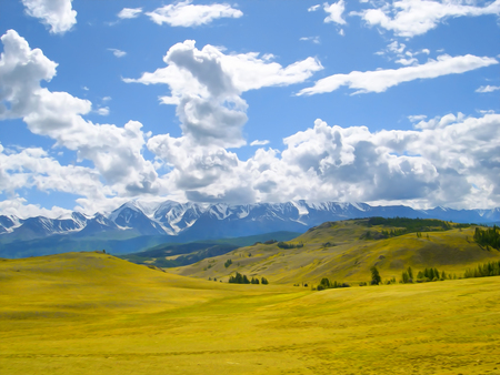 fresh air: autumn landscape oil paint. Altai Mountains fresh air undisturbed pristine nature Illustration, peaceful Highlands, Orange oblique field