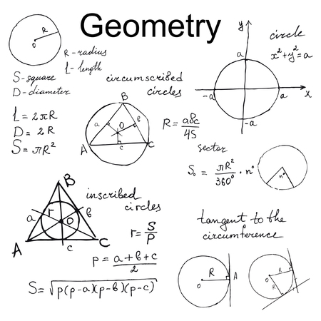 tangent: Background with hand draw geometry formulas, mathematics vector set Stock Photo