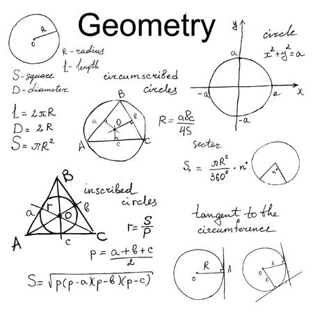 circumference: Background with hand draw geometry formulas, mathematics vector set Stock Photo