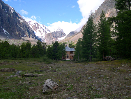 hillside: Altai Mountains.; Clean streams; creeks and rivers; tall; slender trees; plantation of medicinal herbs; fresh air and undisturbed; pristine nature. Illustration;