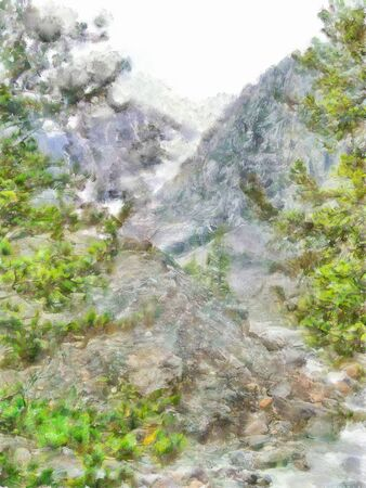 undisturbed: illustration of Altai Mountains; reserved land; Clean streams; creeks and rivers; tall; slender trees; plantation of medicinal herbs; fresh air and undisturbed; pristine nature. high snow-capped mountains; avalanche danger Stock Photo