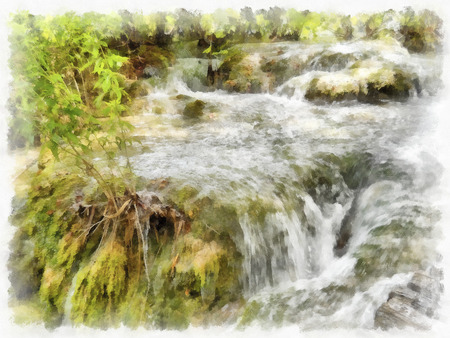 pristine: Small waterfall on a rocky mountain stream, reserved land; Mountains.; Clean streams; creeks and rivers;  fresh air and undisturbed; pristine nature. Illustration