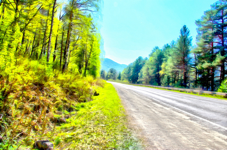 requires: mountains Endless fields, clouds shades of blue distant horizon requires adventure foliage color, peaceful Highlands road in sunny weather, misty evergreen trees high peaks in background Illustration