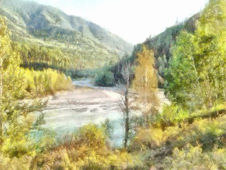 hillside: illustration of Altai Mountains, reserved land,  Clean streams, creeks and rivers, tall, slender trees, plantation of medicinal herbs, fresh air and undisturbed, pristine nature.