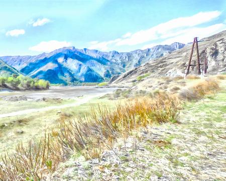 triptico: Montañas; arroyos limpios; arroyos y ríos; árboles delgados; plantación de hierbas medicinales; aire fresco y tranquilo; la naturaleza prístina. Ilustración; acuarela, carretera hacia el, camino a su vez, tríptico, el panel,, carretera de montaña panorámica desconocida,