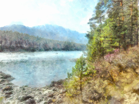 pristine: watercolor illustration of Altai Mountains, reserved land,  Clean streams, creeks and rivers, tall, slender trees, plantation of medicinal herbs, fresh air and undisturbed, pristine nature.