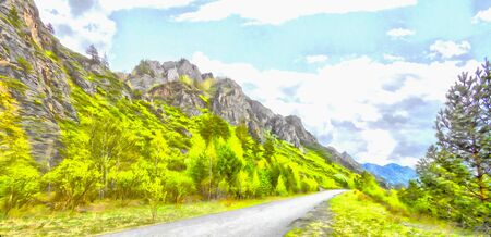 Mountains; Clean streams; creeks and rivers; slender trees; plantation of medicinal herbs; fresh air and undisturbed; pristine nature. Illustration; watercolor, road into the unknown, turn path, triptych, panel, panoramic, mountain road,