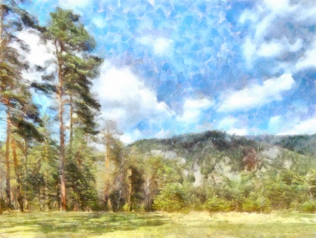 watercolor illustration of Altai Mountains, reserved land,  Clean streams, creeks and rivers, tall, slender trees, plantation of medicinal herbs, fresh air and undisturbed, pristine nature.