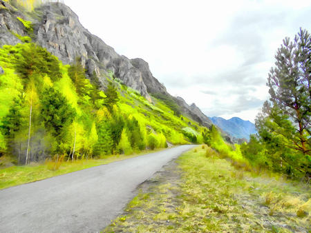 Mountains; Clean streams; creeks and rivers; slender trees; plantation of medicinal herbs; fresh air and undisturbed; pristine nature. Illustration;road into the unknown, turn path, triptych, panel, panoramic, mountain road,