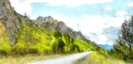 Mountains; Clean streams; creeks and rivers; slender trees; plantation of medicinal herbs; fresh air and undisturbed; pristine nature. Illustration;  road into the unknown, turn path, triptych, panel, panoramic, mountain road,