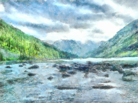 illustration of Altai Mountains, reserved land,  Clean streams, creeks and rivers, tall, slender trees, plantation of medicinal herbs, fresh air and undisturbed, pristine nature.
