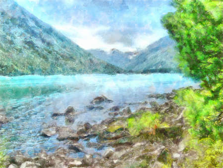 reserved: illustration of Altai Mountains, reserved land,  Clean streams, creeks and rivers, tall, slender trees, plantation of medicinal herbs, fresh air and undisturbed, pristine nature.