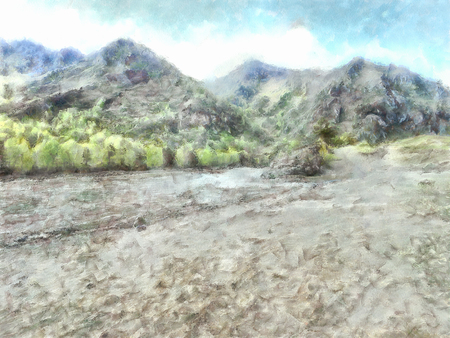 undisturbed: watercolor illustration of Altai Mountains, reserved land,  Clean streams, creeks and rivers, tall, slender trees, plantation of medicinal herbs, fresh air and undisturbed, pristine nature.