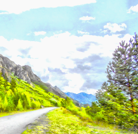 Mountains; Clean streams; creeks and rivers; slender trees; plantation of medicinal herbs; fresh air and undisturbed; pristine nature. Illustration, road into the unknown, turn path, triptych, panel, panoramic, mountain road