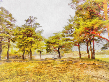 plantation: illustration of Altai Mountains, reserved land,  Clean streams, creeks and rivers, tall, slender trees, plantation of medicinal herbs, fresh air and undisturbed, pristine nature.