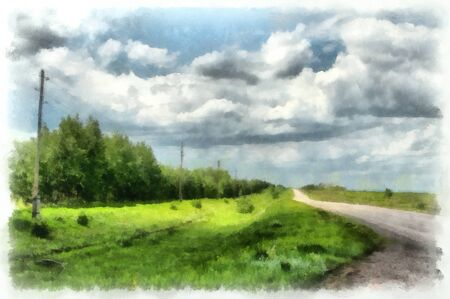 attracts: Illustration of truly Russian landscape. An endless fields, beautiful blue sky, clouds are surrounded by shades of blue. Distant horizon attracts attention and the road calls for adventure.