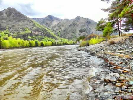 undisturbed: Mountains, Clean streams creeks and rivers slender trees plantation of medicinal herbs; fresh air undisturbed pristine nature  Illustration mountain peaks and glaciers summer Altai Stock Photo