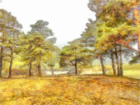 tall trees: watercolor illustration of Altai Mountains, reserved land, Clean streams, creeks and rivers, tall, slender trees, plantation of medicinal herbs, fresh air and undisturbed, pristine nature.