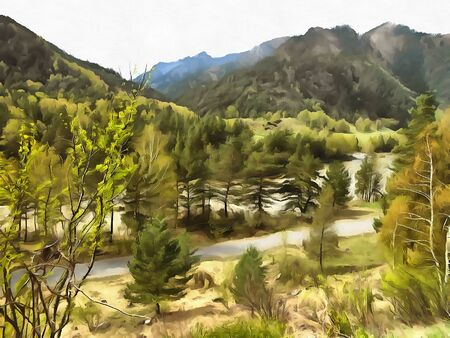 greenery: illustration of Altai Mountains, reserved land, Clean streams, creeks and rivers, tall, slender trees, plantation of medicinal herbs, fresh air and undisturbed, pristine nature.
