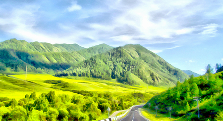 Mountains; Clean streams; creeks and rivers; slender trees; plantation of medicinal herbs; fresh air and undisturbed; pristine nature. Illustration, road into the unknown, turn path, triptych, panel, panoramic, mountain road,