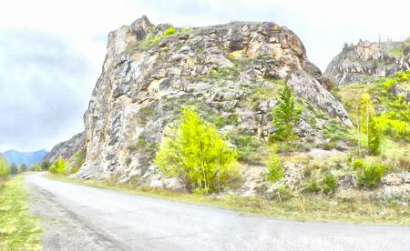 triptico: Montañas; arroyos limpios; arroyos y ríos; árboles delgados; plantación de hierbas medicinales; aire fresco y tranquilo; la naturaleza prístina. Ilustración, camino en el, camino a su vez, tríptico, el panel,, carretera de montaña panorámica desconocida, Foto de archivo