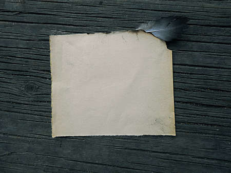 burnt paper: old burnt paper on wooden boards vintage, illustration Stock Photo