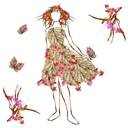 raspberry dress: pretty girl in fantastic dress made of flowers Stock Photo