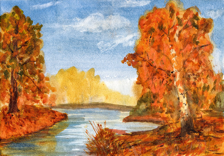 fall landscape: Watercolor landscape creek flows in  autumn forest