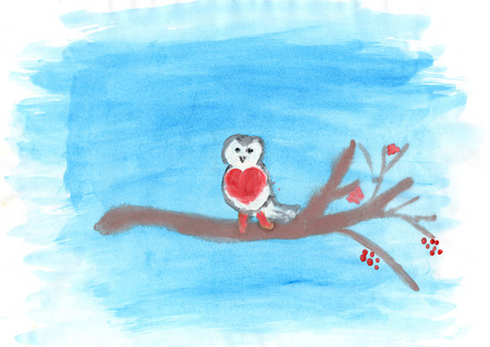 child's drawing: Childs drawing of a small bullfinch on the branch in winter Stock Photo